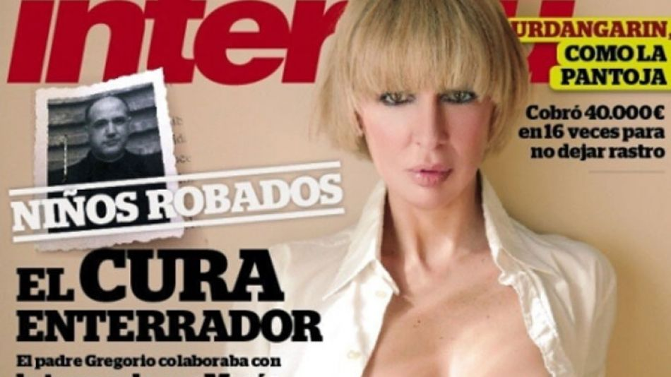 Detalle de la portada de la revista española Interviú con la sobrina de Aznar semidesnuda.