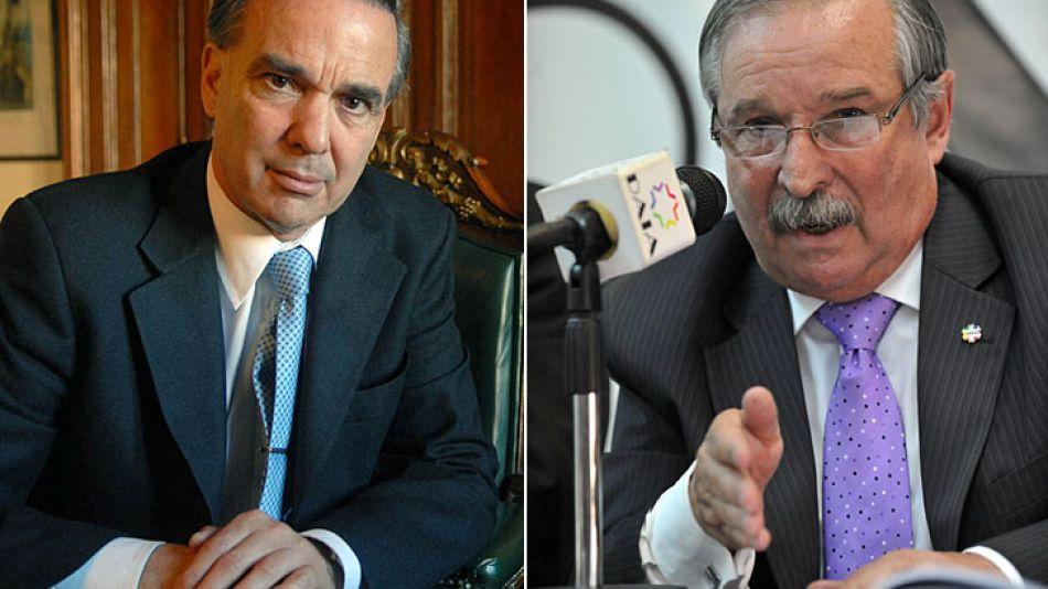 Pichetto y el titular de la DAIA, Julio Schlosser, La semana pasada, el senador K se había cruzado con presidente de la AMIA.