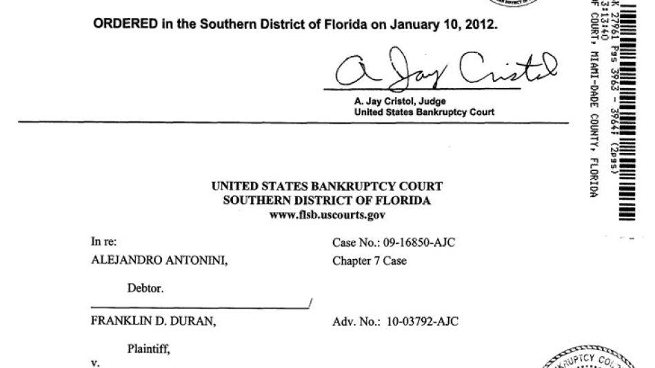 Un litigio comercial de 2012 entre Antonini y  su ex socio y mejor amigo, Franklin Durán, condenado por espionaje en EEUU por el caso de la valija.