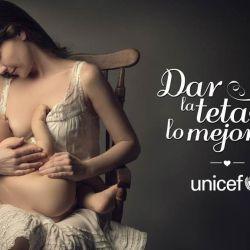 Natalia Oreiro con su hijo Merlín para Unicef