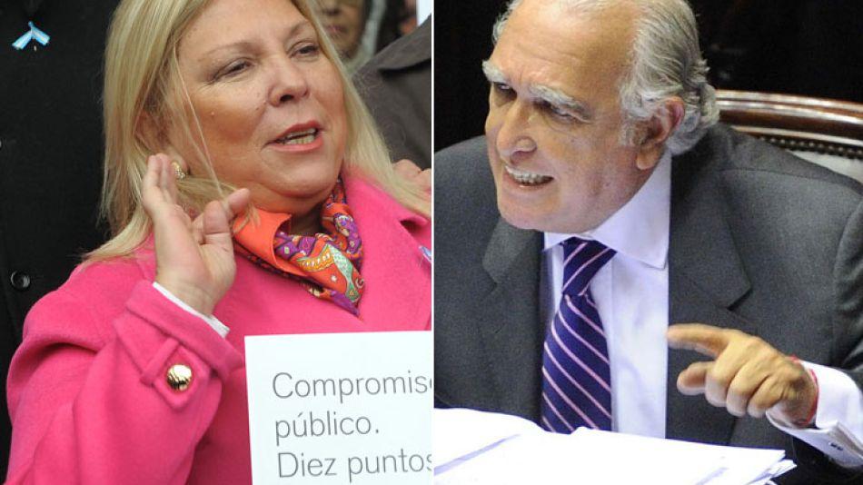 Los precandidatos de UNEN a diputados, Ricardo Gil Lavedra y Elisa Carrió.