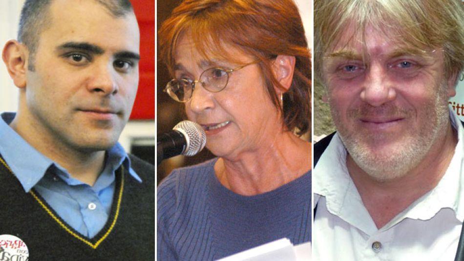 Activistas y precandidatos. Claudio Dellecarbonara, Alicia Oliveira y Gustavo Vera.