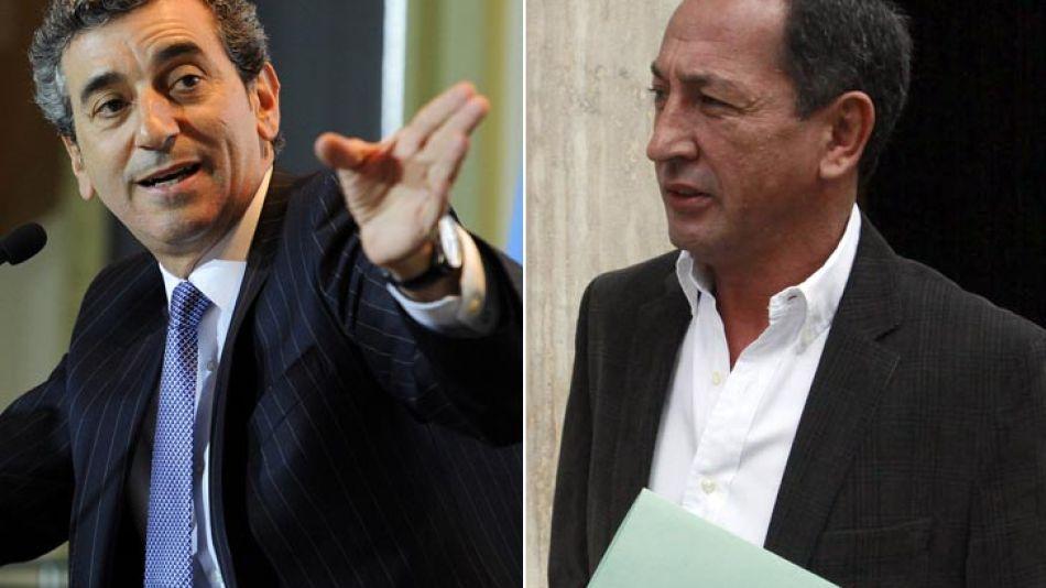 El ministro del Interior y Transporte, Florencio Randazzo, y el secretario general de La Fraternidad, Omar Maturano.