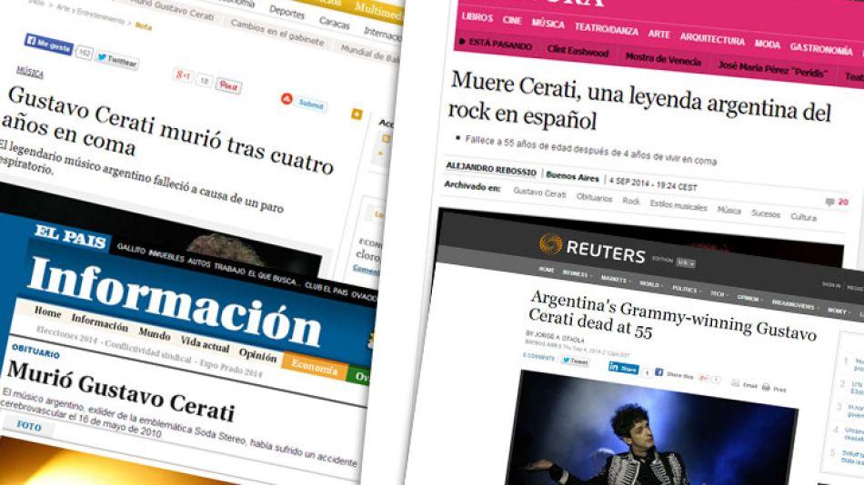 Los medios del mundo hablan de la muerte de Cerati.