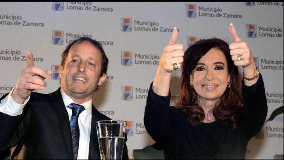 Martín Insaurralde y Cristina Fernández en la campaña legislativa.