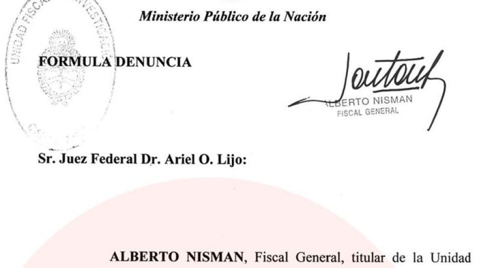 Carátula de la denuncia de Nisman contra Timerman y Cristina.