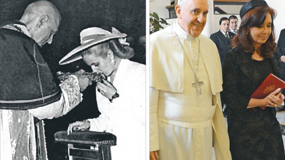 Paris. Eva Perón junto al entonces nuncio Roncalli, luego el papa Juan XXIII.juntos. Roma fue mejor ámbito para dialogar que Buenos Aires.