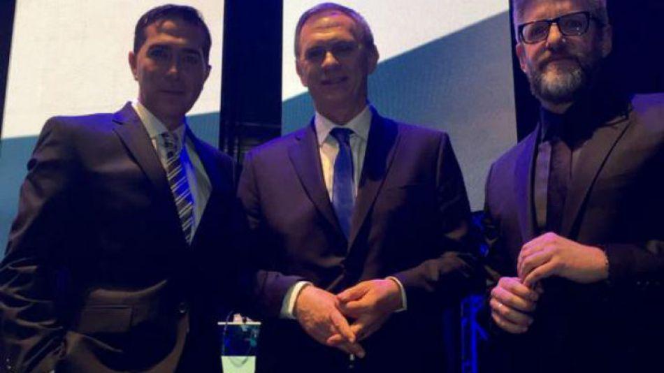 Los mediadores del encuentro: Rodolfo Barilli, Marcelo Bonelli y Luis Novaresio.