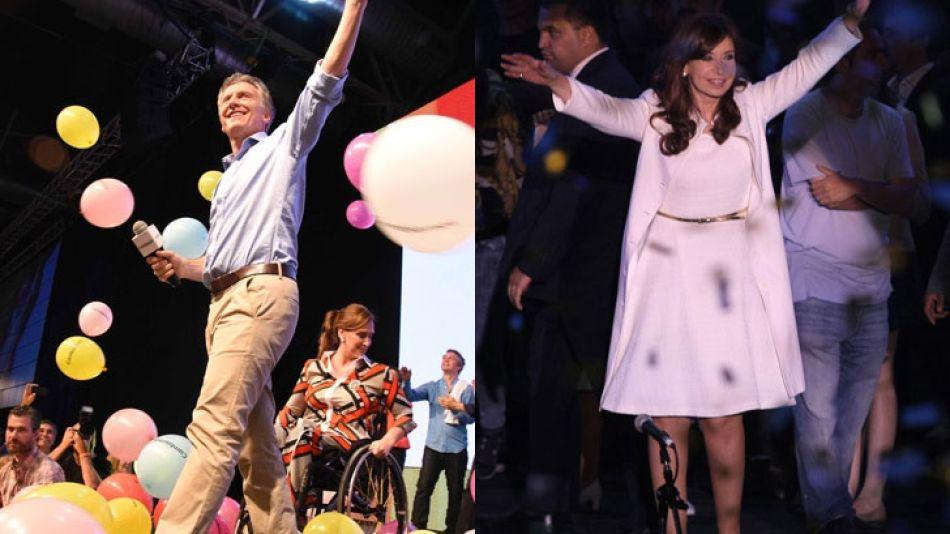 Mauricio Macri y Cristina Fernández de Kirchner.