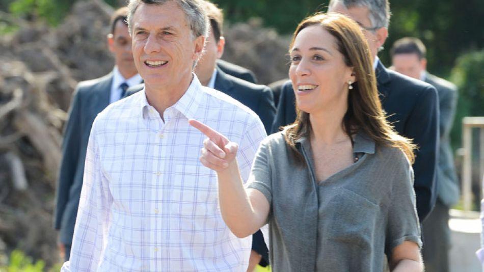Macri y Vidal durante la presentación en Luján