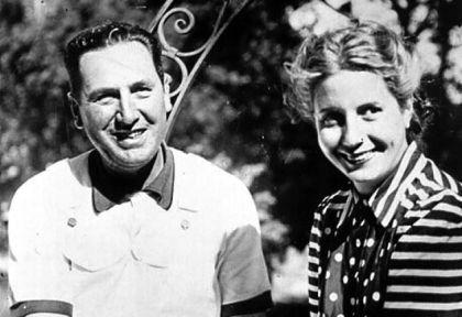 Puestas en escena. A la izq., Perón y Eva Duarte.