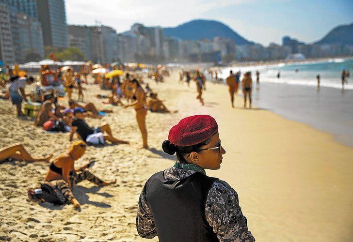 Playa. Copacabana, blindada durante los Juegos Olímpicos.