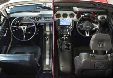 Contrastes. En esta imagen se pueden apreciar las diferencias entre la primera y la actual generación del Ford Mustang.