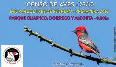 Nuevo Censo de Aves del Parque 3 de Febrero, organizado por COA Carancho.