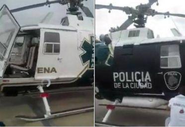 Un helicóptero del SAME es convertido a uno de la Policía de la Ciudad.