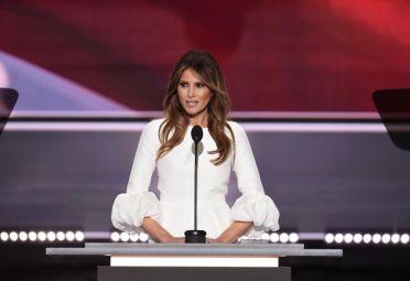 Melania en la Convención Republicana el día que plagió a Michelle Obama.