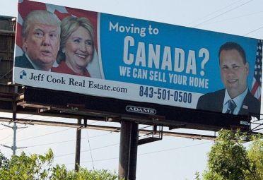 En muchos estados aparecieron los carteles de inmobiliarias que ofrecen sus servicios para vender la casa de quienes se fugan a Canadá.