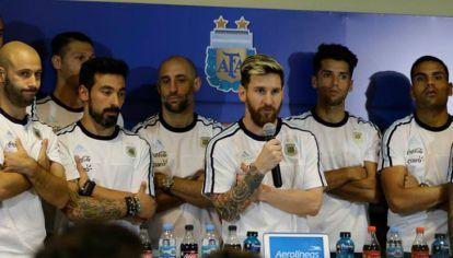 Lionel Messi en conferencia de prensa.