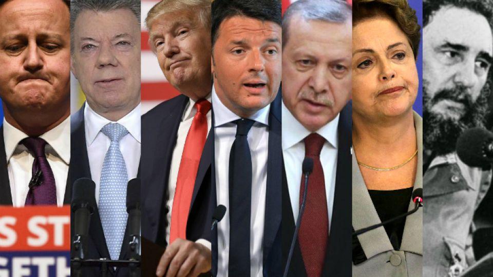 Cameron, Santos, Trump, Renzi, Erdogan, Rousseff y Castro, los protagonistas.