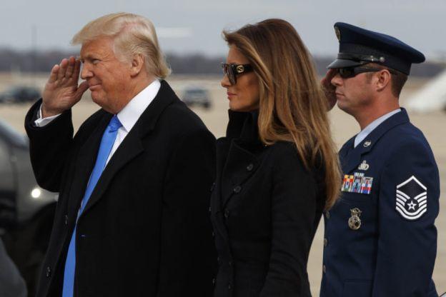 Donald Trump y Melania , antes de su investidura el viernes.
