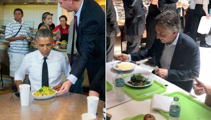 Obama y Macri almorzando