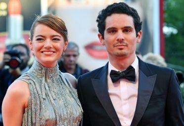 Emma Stone y Damien Chazelle (protagonista y director de La La Land) en la alfombra roja.