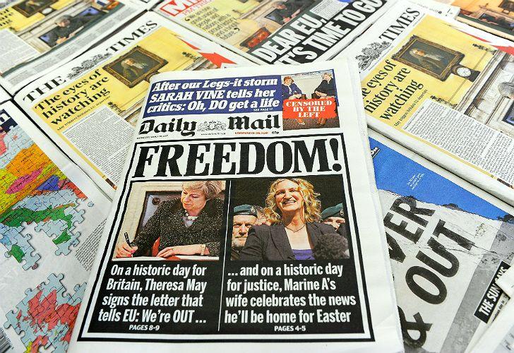 Brexit, en las portadas de los medios británicos.