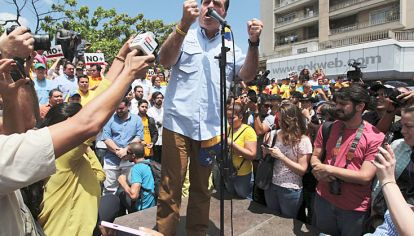 Firme. El presidente de la Asamblea, Borges, en Caracas.