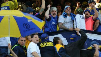 Rafa Di Zeo y Mauro Martín en la tribuna de Boca.