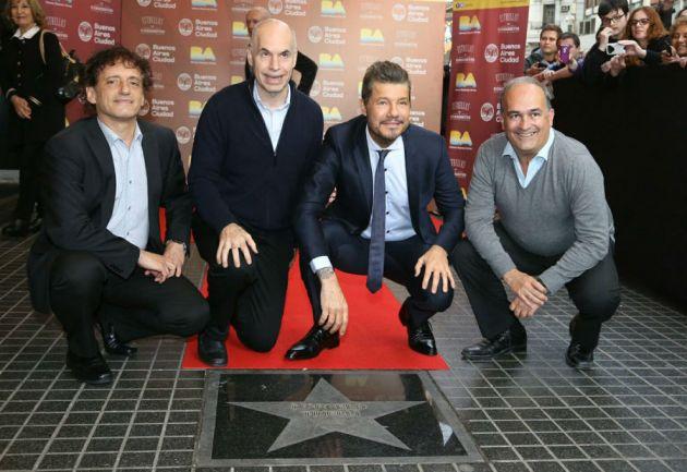 La emoción de Marcelo Tinelli al recibir su estrella en Avenida Corrientes