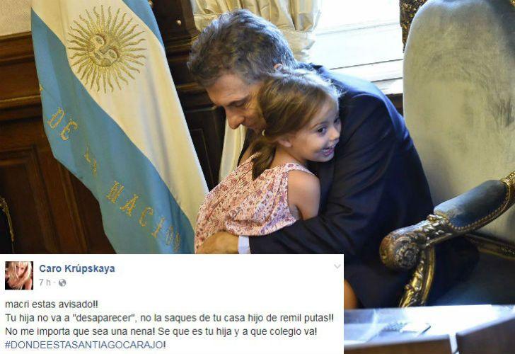 Amenazaron a la hija de Macri por Facebook.