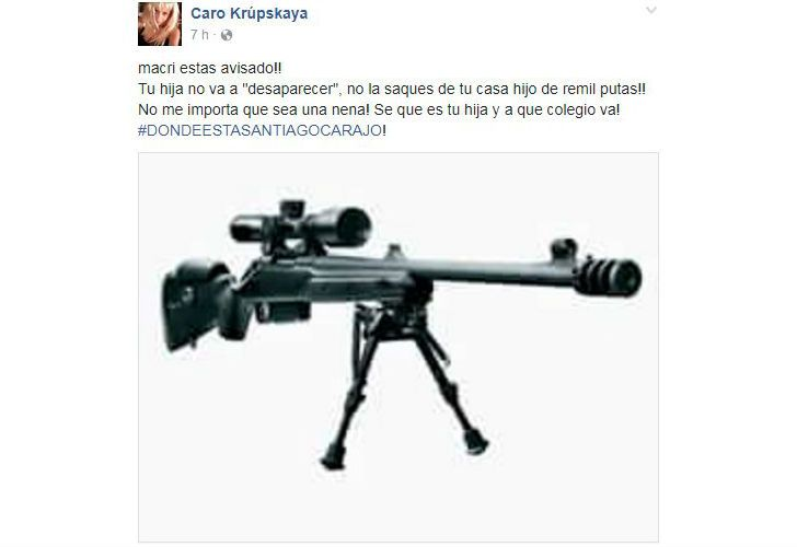 La amenaza por Facebook contra Antonia Macri.