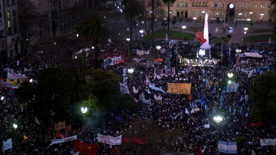 Crowdy protest at Plaza de Mayo claiming for Santiago Maldonado.