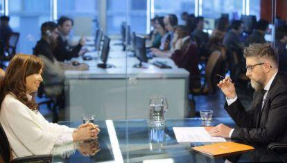 La expresidenta Cristina Fernández de Kirchner fue entrevistada por el periodista Luis Novaresio el 14 de septiembre.