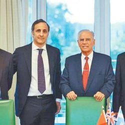 (From left to right) Juan Martín Bulgheroni, Marcos Bulgheroni, Alejandro Bulgheroni CNOOC's representative in Bridas, Yongjie Liu.