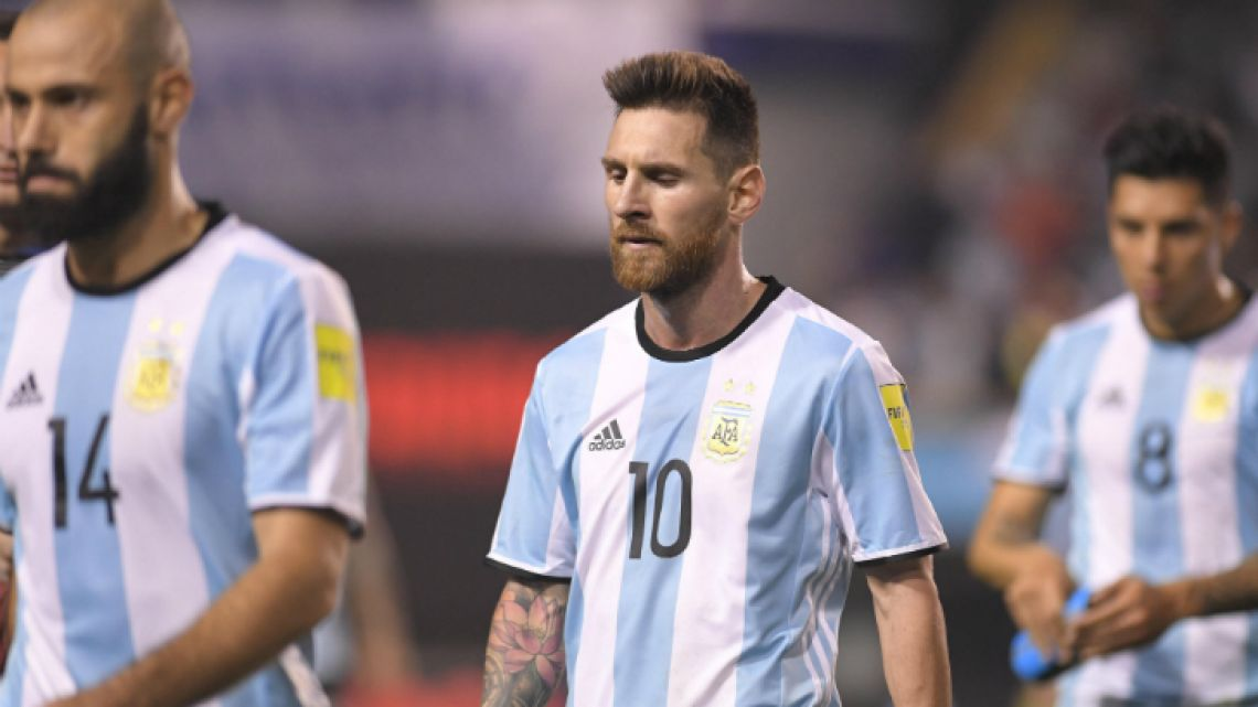 Argentina captain Lionel Messi walks off the pitch in disbelief after the 0-0 World Cup qualifying match against Peru, at La Bombonera in Buenos Aires on Thursday night.