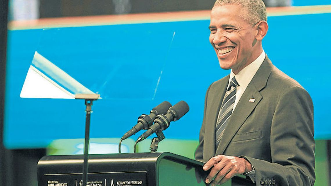 Former US president Barack Obama, smiles as he delivers a speech during the Green Economy Summit 2017 in Cordóba.