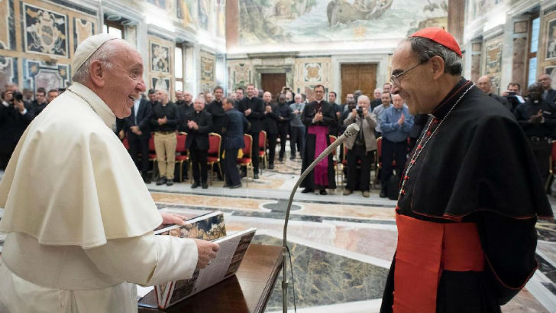 On Thursday, Pope Francis met with French Cardinal Philippe Barbarin (right), who is awaiting trial over allegations he covered up for a paedophile priest in his diocese. It was the first time the pontiff has met with Barbarin, the archbishop of Lyon, who will go to court over allegations related to priest Bernard Preynat's abuse of boy scouts in the 1980s.