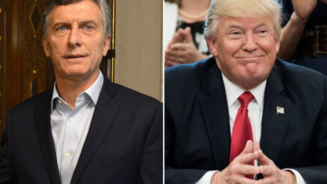 Form left to right: Mauricio Macri and Donald Trump.