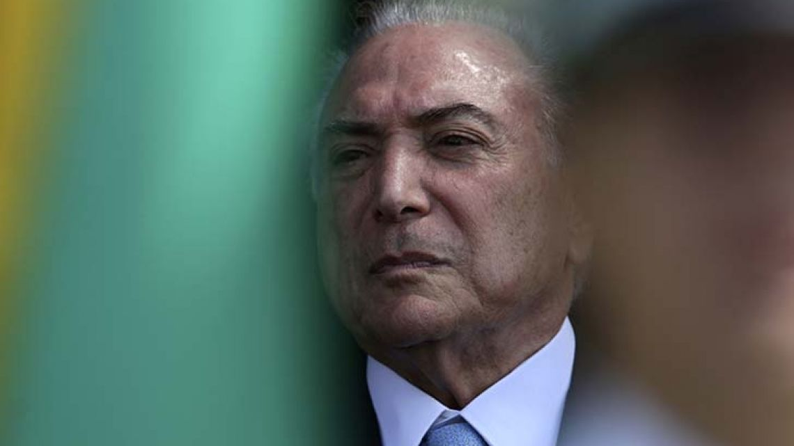 Brazil's President Michel Temer attends a ceremony at the Brasilia Air Base on Monday.