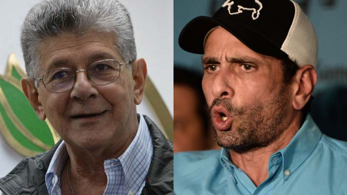 Venezuelan opposition leaders Henry Ramos Allup and Henrique Capriles.