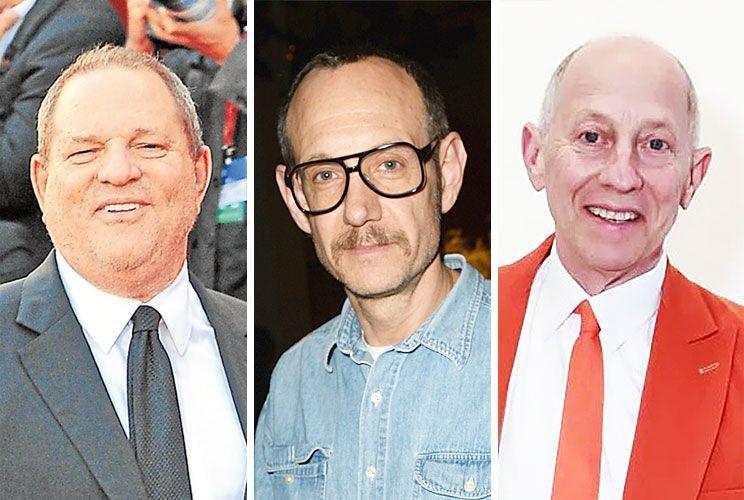 En caída. Al caso de Harvey Weinstein  (izq.) se le sumó el del fotógrafo Terry Richardson (ctro.) y el del editor de una publicación de arte, Knight Landesman (der.), ya desvinculados laboralmente.