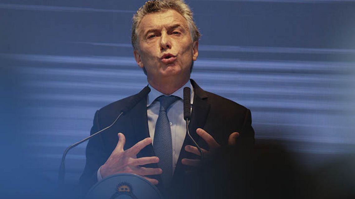 President Mauricio Macri, pictured at the Kirchner Cultural Centre on Monday.