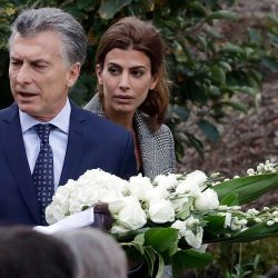 President Mauricio Macri and first lady Juliana Awada visit the site of the terrorist attack on a Manhattan bike path in New York.