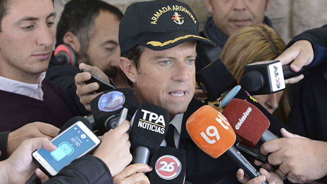 Navy Captain Gabriel Galeazzi talks to journalists at the Navel base in Mar del Plata on Monday.