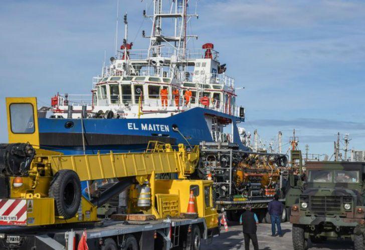 El buque Maitén participa de las tareas de búsqueda del Ara San Juan en Comodoro Rivadavia.