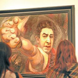 MALBA visitors look at the famous self-portrait by David Alfaro Siqueiros, The Great Colonel (1945).