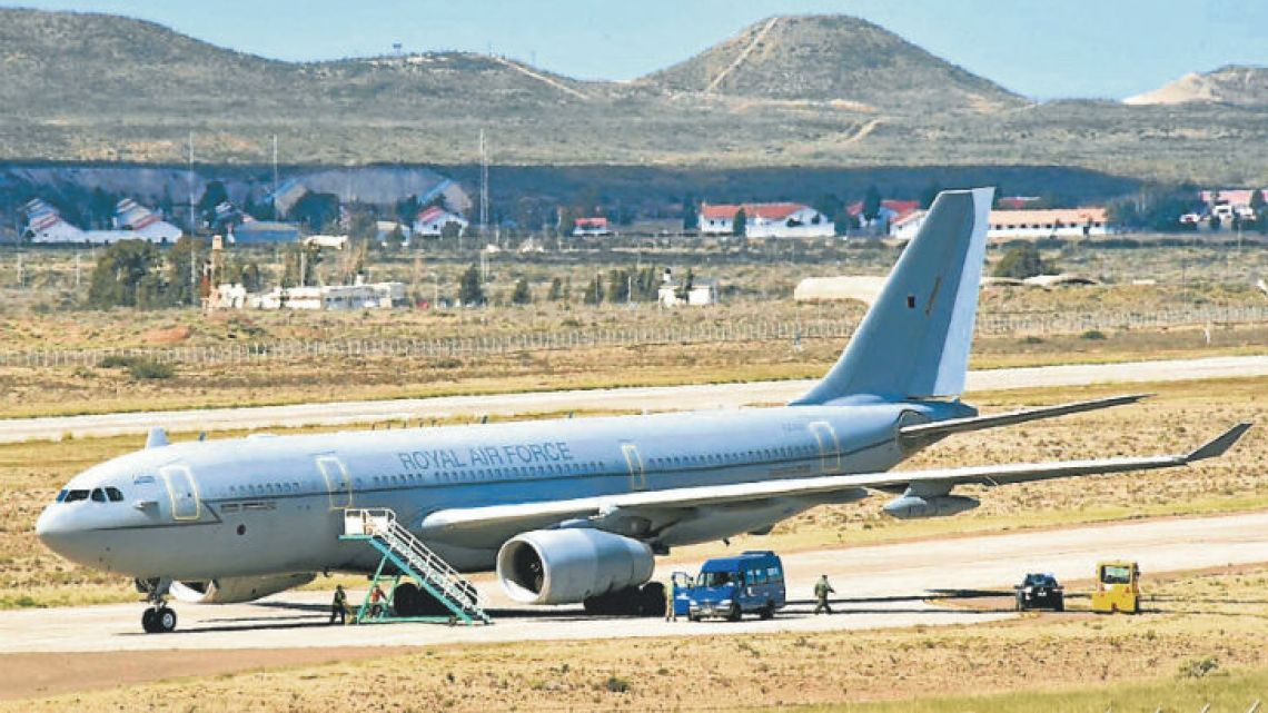The RAF Voyager, which landed at Comodoro Rivadavia on Wednesday.