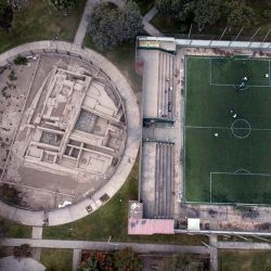 The pre-Columbian archeological site La Luz is flanked by a private soccer field players rent in Lima, Peru. Many people in modern-day Peru are raised among the Incan ruins built before the Spanish colonised South America.