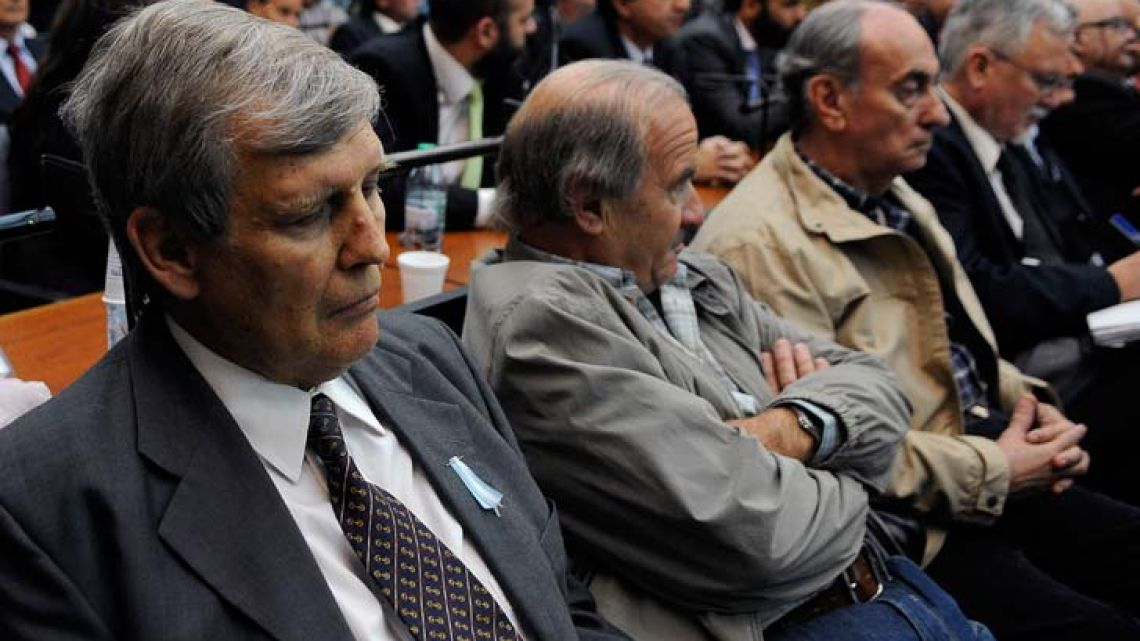 Alfredo Astiz is pictured during the sentencing hearing for the ESMA megatrial. A total of 52 soldiers and two civilians were sentenced on Wednesday in Argentina, for the so-called 'death flights' and other crimes commited in the ex-ESMA Navy Mechanics Schools (Escuela de Mecanicos de la Armada) during the military dictatorship (1976-83).